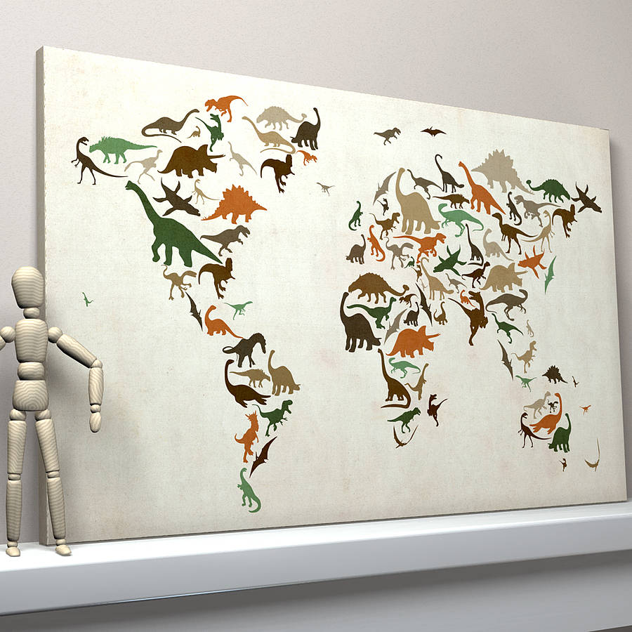 Dinosaur world map art print by artpause notonthehighstreet brown and green vintage background dinosaur world map gumiabroncs Images
