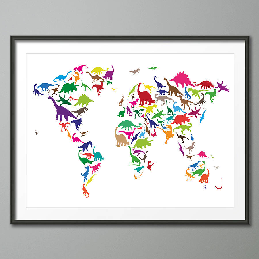 Dinosaur world map art print by artpause notonthehighstreet vintage background dinosaur world map multi coloured on white background art print gumiabroncs Images