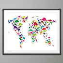 Multi-coloured on White Background Art Print