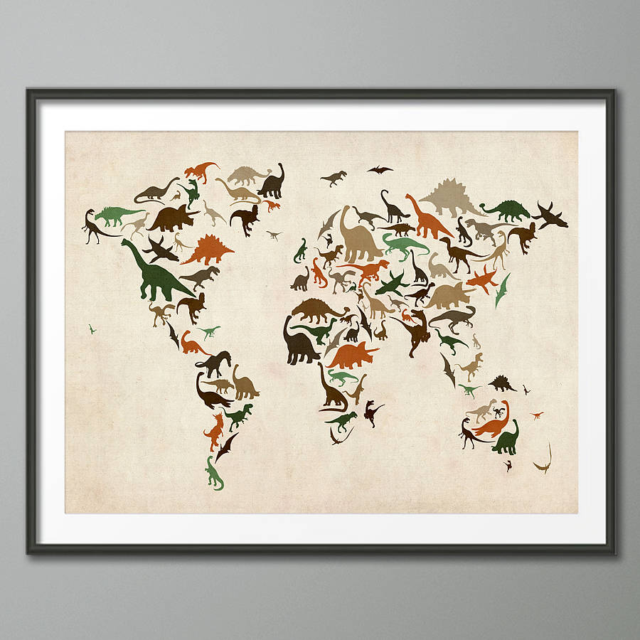 Dinosaur world map art print by artpause notonthehighstreet brown and green vintage background art print gumiabroncs