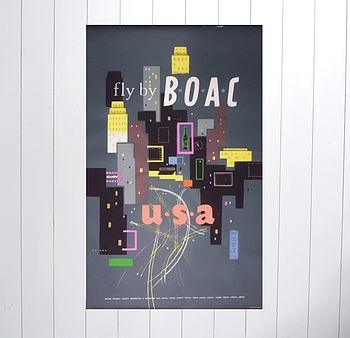 BOAC Original 1954 Travel Poster
