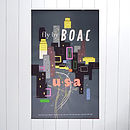 BOAC Original 1954 Travel Poster