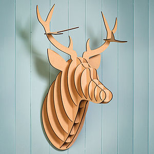 Wooden Stag Head Trophy - decorative accessories
