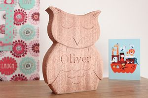 Christening And New Born Carved Owl - christening gifts