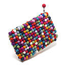 Handmade Felt Balls Clutch Bag Multicoloured