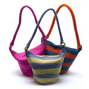 Handmade Felt Stripey Bag Green Or Pink - bags & purses