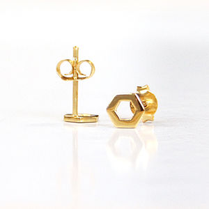 Gold Honey Comb Stud Earrings - earrings