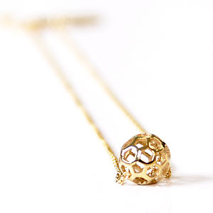 Honeycomb Ball Necklace - women's jewellery
