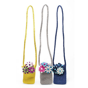 Handmade Felt Floral Bag Removable Brooches - bags & purses