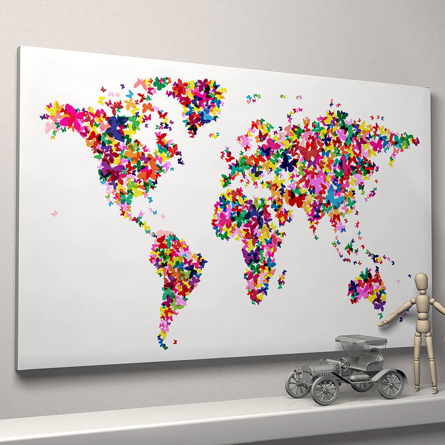 Butterflies world map art print by artpause notonthehighstreet butterflies world map ready to hang canvas gumiabroncs Images