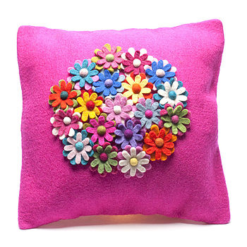 Handmade Felt Pink Flower Design Cushion