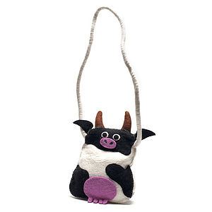 Handmade Felt Cow Shoulder Bag