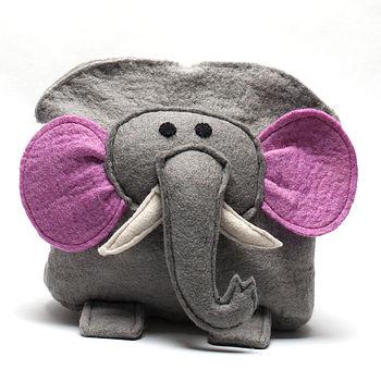 Handmade Felt Elephant Rucksack Grey