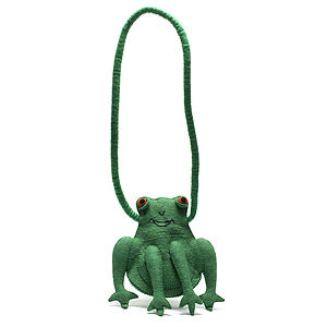 Handmade Felt Frog Shoulder Bag Green - girls' bags & purses