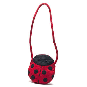 Handmade Felt Ladybird Shoulder Bag Red - bags & purses
