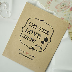 10 'Let The Love Grow' Seed Packet Favours - wedding favours