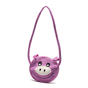Handmade Felt Pig Shoulder Bag Pink