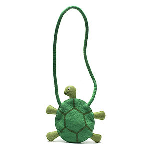 Handmade Felt Turtle Shoulder Bag Green - shoulder bags