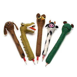 Handmade Felt Animal Pencil Holders - party bags and ideas