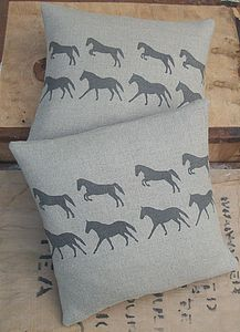 ' Galloping Horse ' Linen Cushion - living room