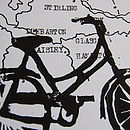 Framed Bike Print On Hand Drawn Bespoke Map