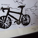 Personalised Bike Print On Hand Drawn Bespoke Map