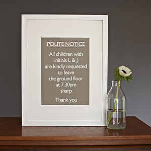 Framed Personalised 'Polite Notice…Bedtime'