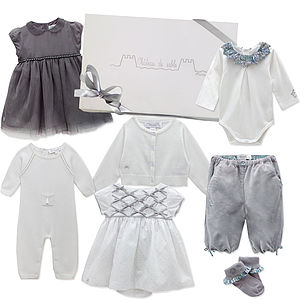 Newborn Baby Girl's First Wardrobe In Grey
