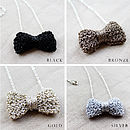 Hand Knitted Metallic Bow Tie Necklace