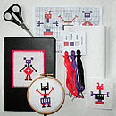 Learn To Cross Stitch 'Robot Geek' Kit