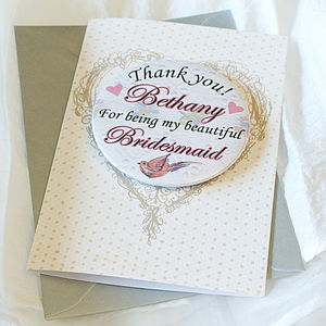 Personalised Magnet Bridesmaid Thank You Card - thank you cards