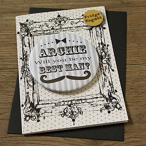 Personalised Magnet Best Man Invite Card - wedding stationery
