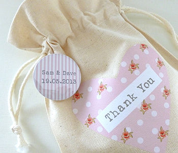 Personalised Rose Wedding Favour Bag