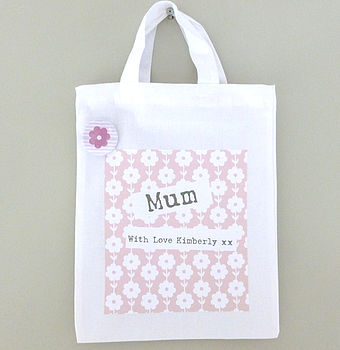Personalised Floral Fabric Gift Bag