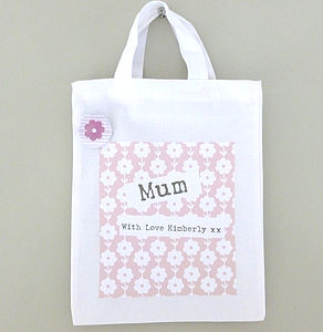 Personalised Floral Fabric Gift Bag - ribbon & wrap