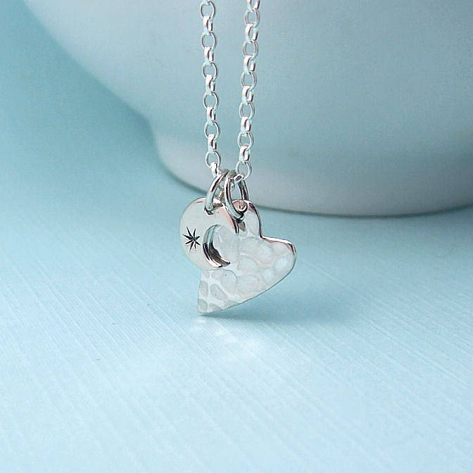 Love you to the moon and back silver necklace by wished for love you to the moon and back silver necklace mozeypictures Images