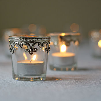 Set Of Two Silver And Glass Tea Light Holders