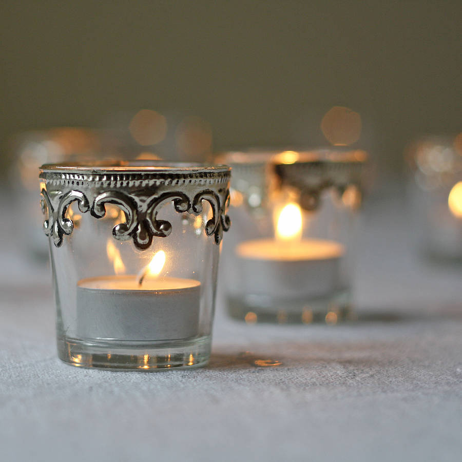 set of two silver and glass tea light holders by the wedding of my dreams. Black Bedroom Furniture Sets. Home Design Ideas