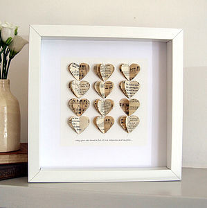Personalised Heart Strings Artwork - 1st anniversary: paper