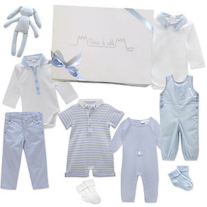 Newborn Baby's First Wardrobe In Baby Blue - babygrows