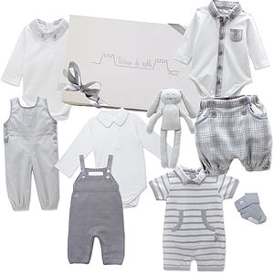 Bespoke Baby Boy Royal Gift Collection Grey - babygrows