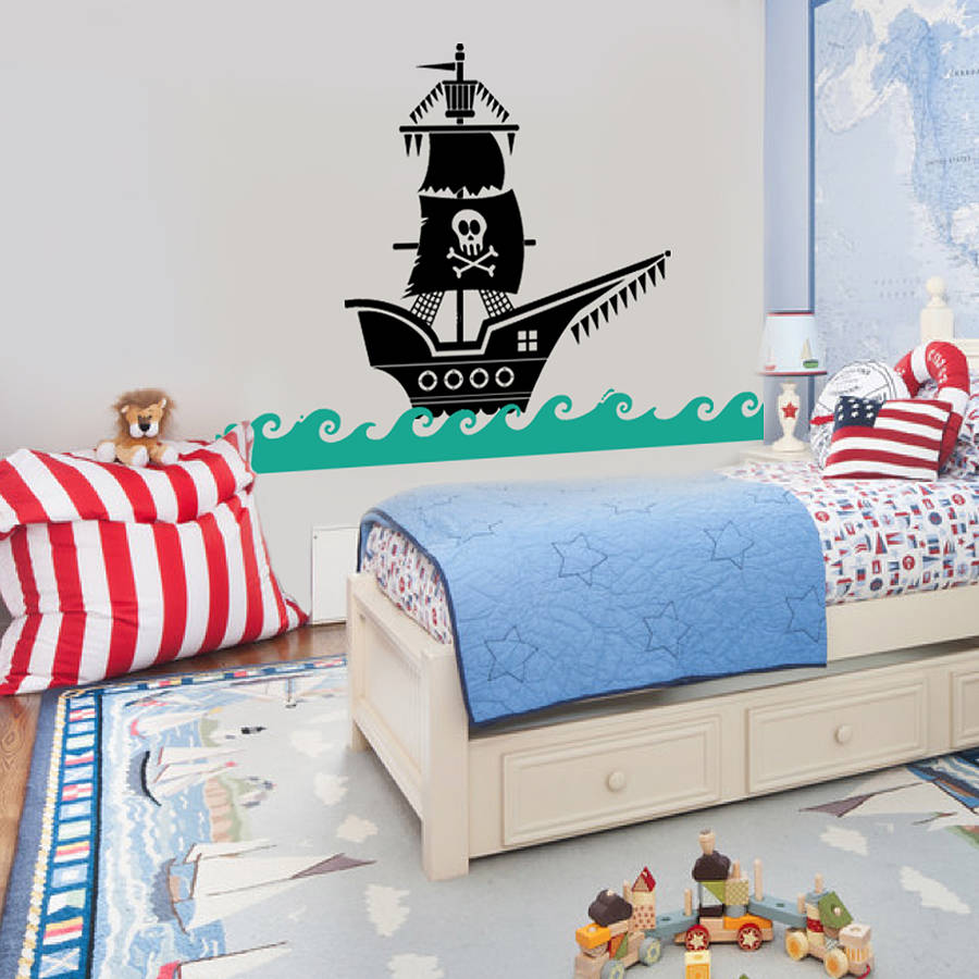 Pirates Kids Wall Decal: Pirate Ship Wall Sticker Decal By Snuggledust Studios