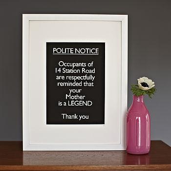 Framed Personalised 'Polite Notice… Legend'