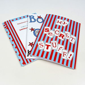 Pack Of Six Boy's Party Notebooks - winter sale