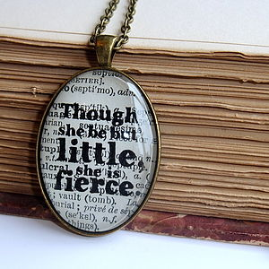 'She Be But Little' Shakespeare Quote Pendant - women's jewellery