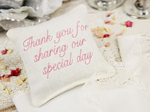 Embroidered Wedding Favour Lavender Pillow