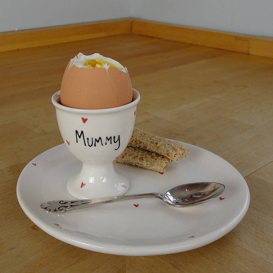 Personalised Heart Egg Cup Set By Fired Arts And Crafts