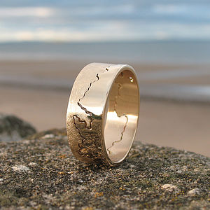 Personalised Gold Coastline Ring - wedding rings