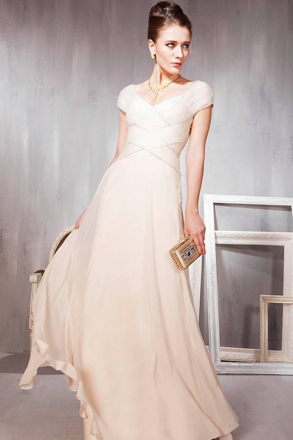Cream Weave Floor Length Bridesmaid Dress By Elliot Claire