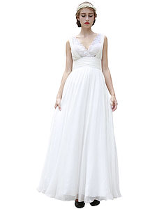 Embroidered V Neck Wedding Dress - women's fashion